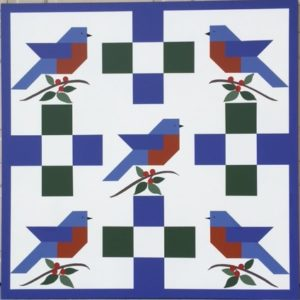 Five Bluebirds Barn Quilt