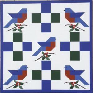 Five Bluebirds Barn Quilt