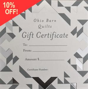Gift certificate for barn quilt
